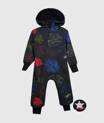 Waterproof Softshell Overall Comfy Leaves Drawings Jumpsuit
