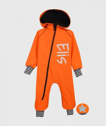 Waterproof Softshell Overall Comfy Neon Orange Striped Cuffs Jumpsuit