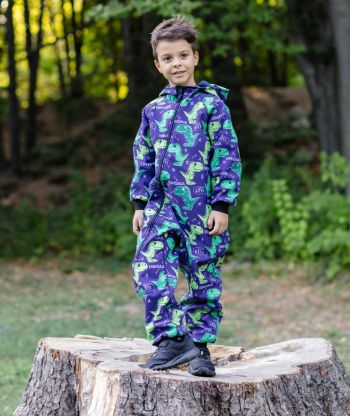 Waterproof Softshell Overall Comfy Dark Blue Dino Jumpsuit