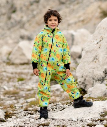 Waterproof Softshell Overall Comfy Jungle Drawings Jumpsuit
