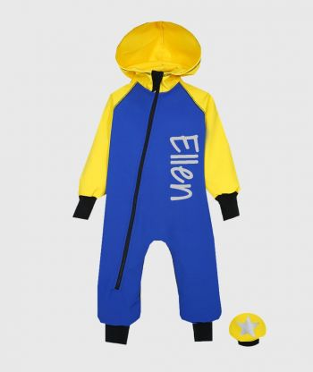 Waterproof Softshell Overall Comfy Blue/Yellow Jumpsuit