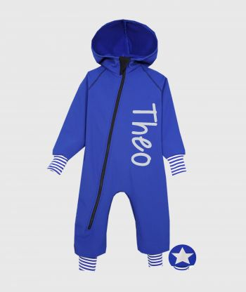 Waterproof Softshell Overall Comfy Intense Blue Striped Cuffs Jumpsuit