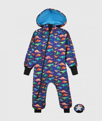 Waterproof Softshell Overall Comfy Dino World Blue Jumpsuit