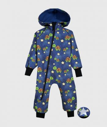 Waterproof Softshell Overall Comfy Turtles Blue Jumpsuit