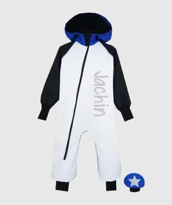 Waterproof Softshell Overall Comfy White/Black/Blue Jumpsuit